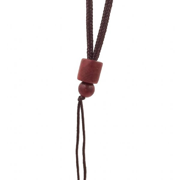 Wooden Cylindrical Bead Dark Brown Cord 25in